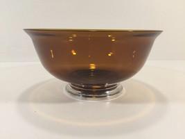 "Vintage 8"" Amber Glass Bowl With Gorham Sterling Silver Base - $79.99"