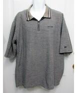 Sz XXL 2XL Spalding Top Flight Mens Tan Gray Mix Checks Cotton Collar Po... - $8.99