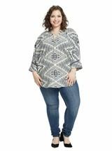 Renee C Kimono Sleeve Top Blouse Womens 3X Blue Geometric Print EUC B80-04 - $9.58