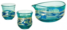 Tsugaru vidro glass sake botttle cup set Ochoko Tokkuri Kinsai Ruri from... - $140.26