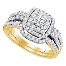 14k Yellow Gold Princess Diamond Bridal Wedding Engagement Ring Band Set 1 Cttw - $1,659.00