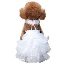 NACOCO Dog Wedding Dress Bride Outfit with Pearl Necklace and Rose Colla... - $13.76