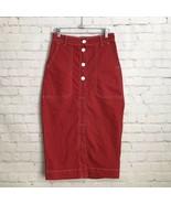 Zara Red Stretch Denim Pencil Wiggle Skirt Womans XS Front Slit High Waist - $33.81