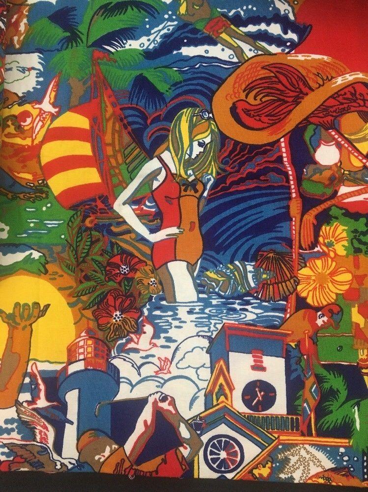 Vtg Bright Colors Beach Golf Flamingo Tropical Original Screen Print Vat Fabric