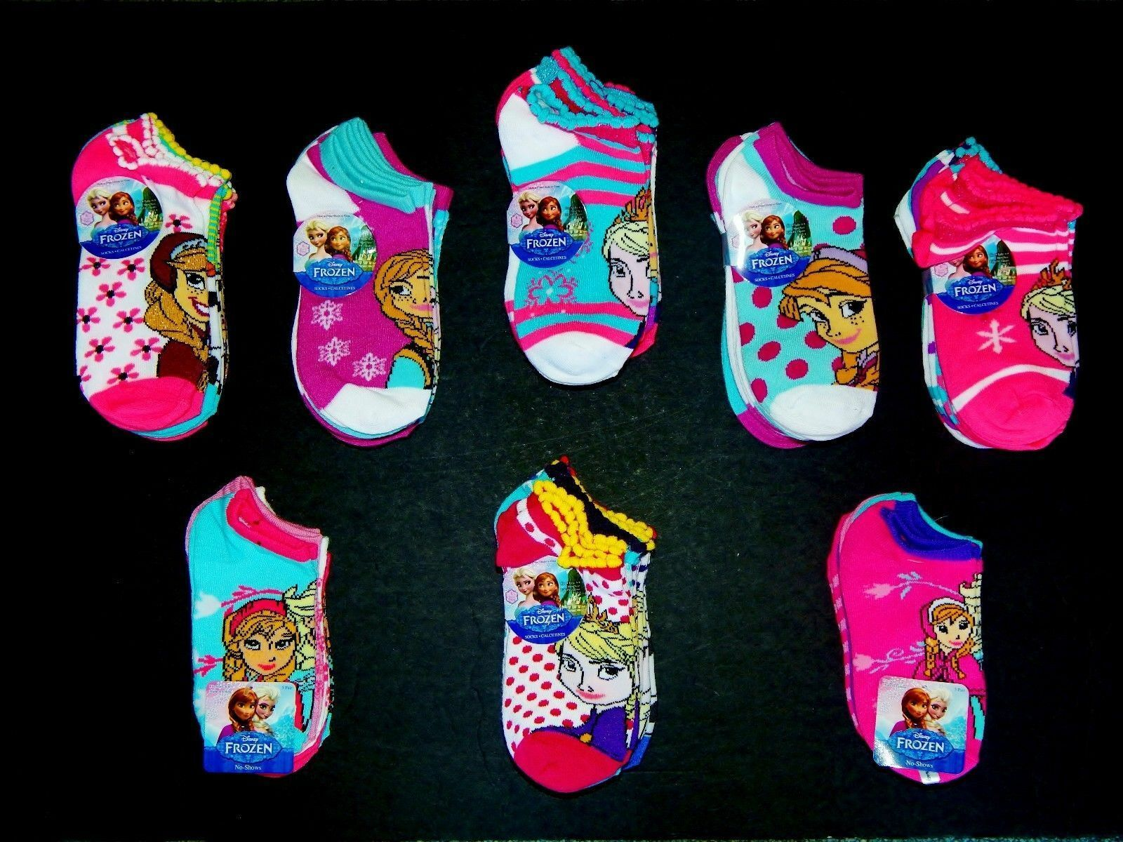 Primary image for DISNEY FROZEN ANNA&ELSA 5 or 6-Pack Ankle/No-Show Socks Age 4-10 (Sock Size 6-8)