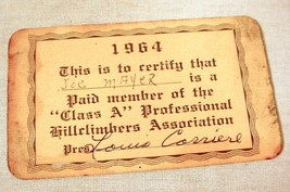 VINTAGE 1964 MEMBERSHIP CARD CLASS A PROFESSIONAL MOTORCYCLE HILLCLIMBER... - $27.71