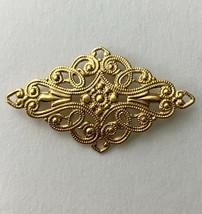 Monet Gold Tone Filigree Open Work Bar Brooch Pin Vintage Deco Nouveau S... - $12.58