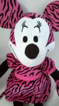 Large Disney Minnie Mouse Pink Zebra Stripe Print Soft Plush Stuffed Dol... - $12.46
