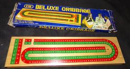 Vintage Hit Hardwood Cribbage Board Wood 120pt Continuous Track Box Comp... - $7.31