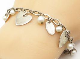925 Silver - Vintage Freshwater Pearl Love Heart Charmed Chain Bracelet ... - $41.98