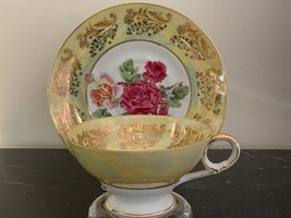 Vintage Royal Sealy Yellow Pearl and Roses Decor Footed Tea Cup and Saucer - $49.00