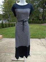 NWT TALBOTS NAVY STRIPED MAXI DRESS L - $27.99
