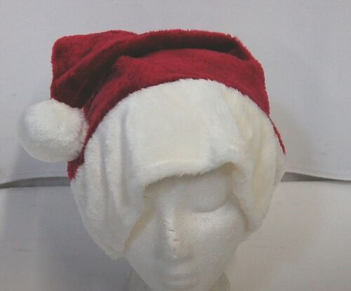 Hot Zone Adult Santa Hat Burgundy Wine Color White Plush