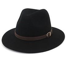 Lisianthus Women's 100% Wool Fedora Panama Hat Wide Brim with Belt Black - $25.81