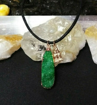Natural Healing  Green Geode Quartz Necklace For Men or Women Druzy - $14.36