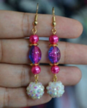Handmade Pink Blue Oval Crackled Bead White Ab Bead Gold Plated Dangle E... - $12.99