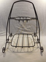 Longaberger Foundry Black Wrought Iron Two Tier Buffet Holiday Basket Rack Stand - $23.95