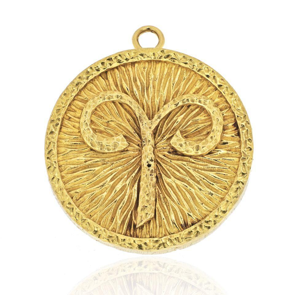 David Webb 18K Yellow Gold Aries Zodiac Pendant - $9,200.00