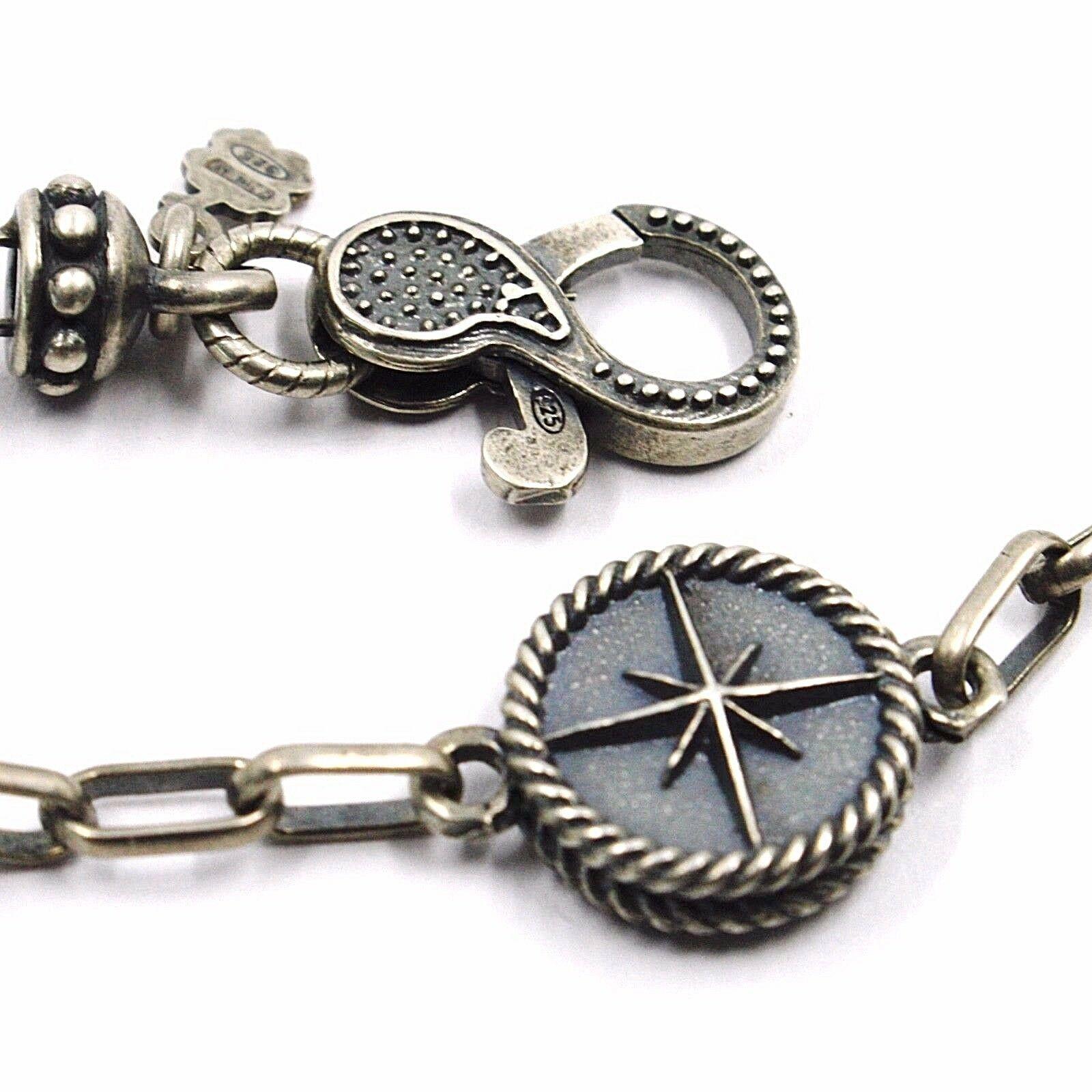 Silber Armband 925, Brüniert Matt, Pink der Zwanzig, Kompass, 18 CM