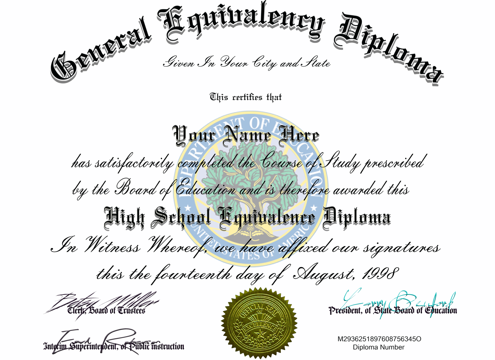 ged diploma certificates seal novelty personalized created certification