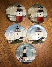 Sakura David Carter Brown Lighthouse 'By the Sea' Salad Dessert Plates S... - $24.74