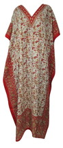 Women's Beautiful Paisley Floral Kaftan, Hippy V-Neck Maxi Caftan, Free Shipping - $12.20