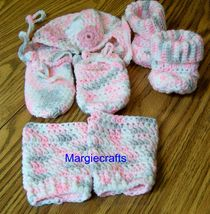 Baby Clothing, Hat, Mittens, Booties, Leg Warmers, Crochet, Handmade, 3-... - $32.00