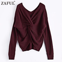 V Neck Twisted Back Sweater Women Jumpers Pullovers Long Sleeve Knitted ... - $28.22