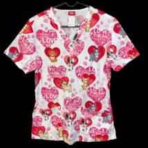 Cherokee Love My Dog Lover Heart Scrub Shirt Size Small Nurse Vet Tech Corgi - $15.99