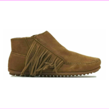 Minnetonka Lacy Fringe Suede Moccasin Boots Dusty Brown 5 - $31.78