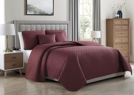 Cozy Beddings Francesco Coverlet Set Matte Satin Geometric Pattern Bed B... - $66.39+
