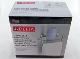 "New Delta HEXTN16-BN 8"" Glass Bath Corner Shelf w/Hand Towel Bar Brushed... - $14.50"