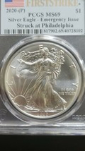 2020 (P) Silver Eagle PCGS MS 69 FS Emergency Issue White Spots Actual Coin 8102 image 2