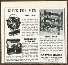 1965 Boston House Holiday Print Ad Gifts for Men Log Crib Wine Rack Auto... - $7.64