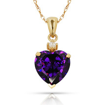 3.07Ct White Sapphire & Heart Amethyst Charm Pendant14K Yellow Gold w/Chain - $68.88+