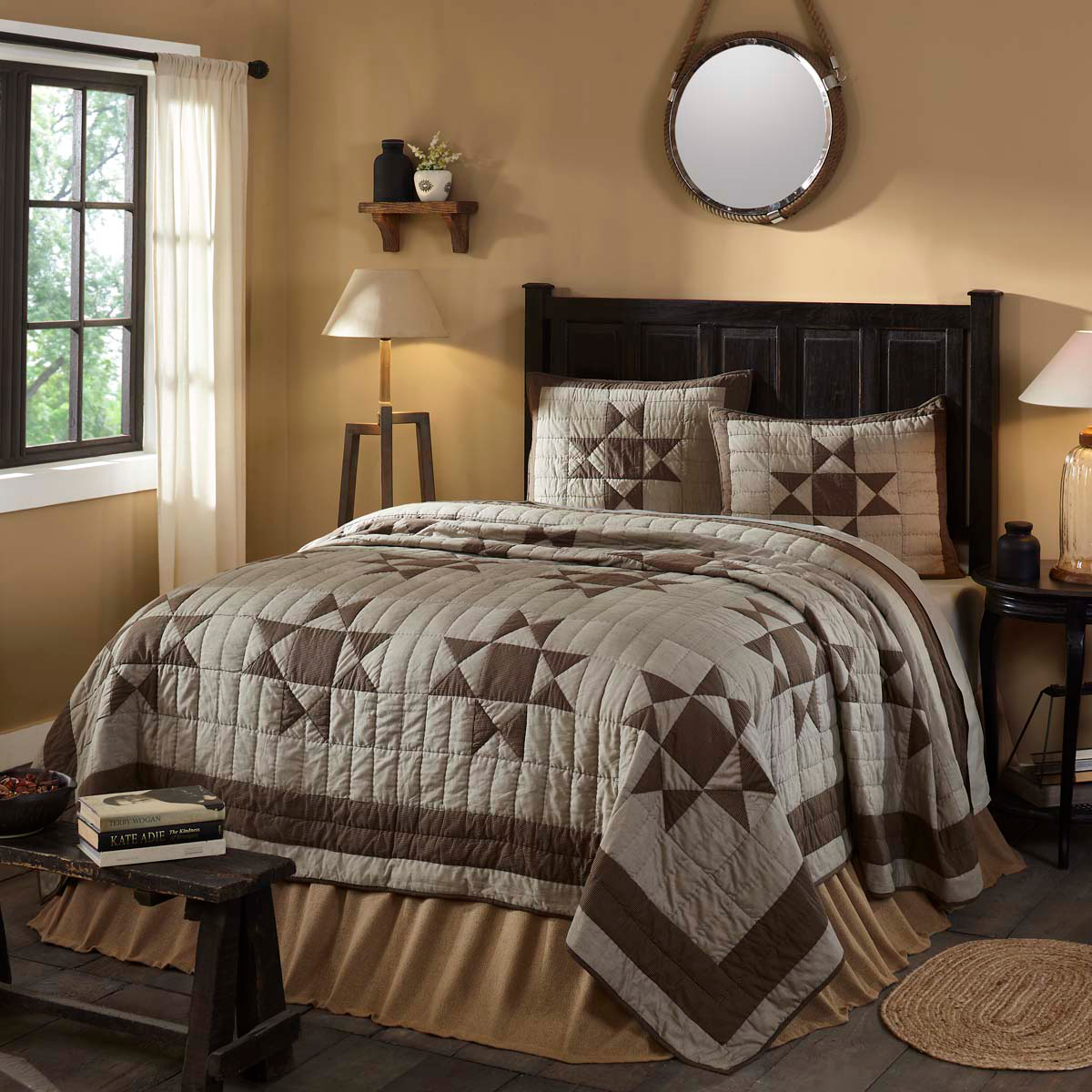 10-pc Ohio Star King Quilt Set - Quilted Shams, Soft Burlap Natural Accessories