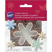 Wilton 3 Pc Nesting Snowflake Metal Cookie Cutter Set Snowflakes - $5.63