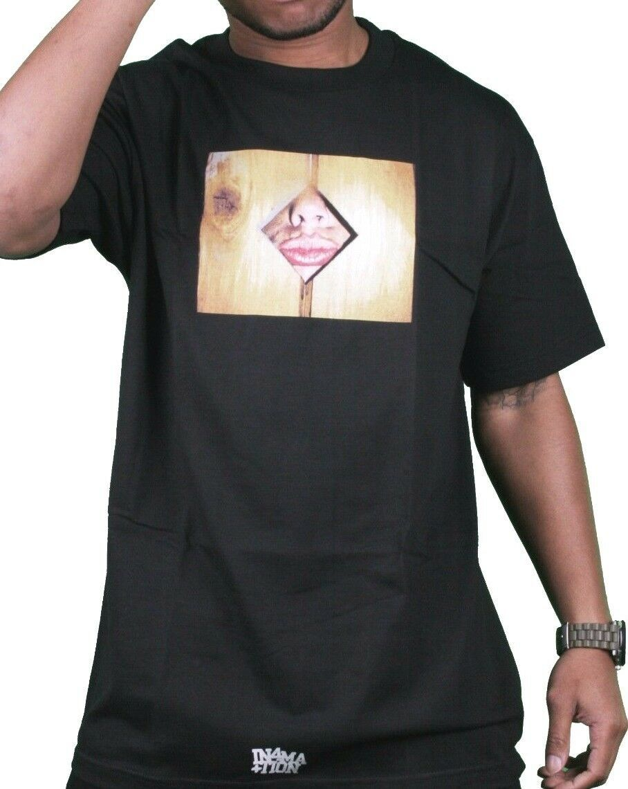 In4mation Mens Black Pink White Breezy Glory Hole Ladies Lips Peeking T-Shirt NW