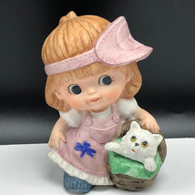 VINTAGE HOMCO FIGURINE 1439 porcelain ceramic statue sculpture kitten cat basket - $19.75