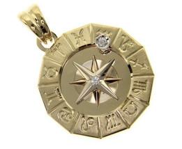 18K YELLOW GOLD ZODIAC SIGN ROUND 25mm DIAMOND PENDANT WIND COMPASS ZODIACAL image 1