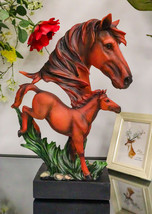 """Large 15""""H Wild And Free Stallion Horse Bust Statue On Museum Pedestal Base - $64.99"""