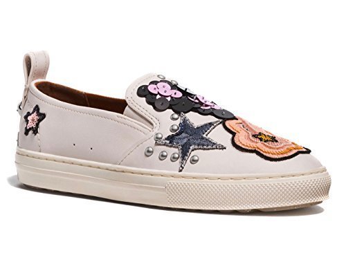 Coach Women's Shoes Sneakers with Sequins and Star Patches (6, Chalk)