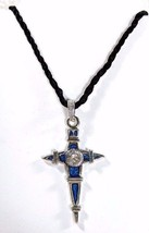 Gothic Turquoise Blue Pointed Cross Necklace Black Rope Cubic Zirconia G... - $16.16