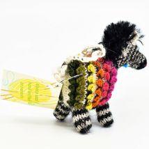 Handknit Alpaca Wool Whimsical Hanging Zebra Ornament Handmade in Peru image 4