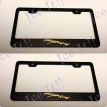 2X 3D Jaguar Raised Gold Emblem Black Stainless Steel License Plate Frame - $37.13