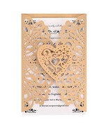 Gold Laser Cut Wedding Invitations Kits 50 Packs FOMTOR Laser Cut Weddin... - $43.14