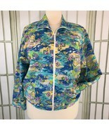 Napa Valley Womens Size 1X Full Zip Jacket Lightweight Festival Fish Mot... - $24.18
