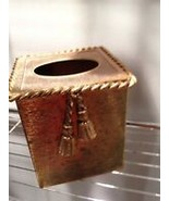 Gold toned metal tissue box holder - $36.99
