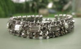 Rhinestone Vintage Tennis Style Bracelet with Clear Baguette Stones 6.5 ... - $9.49