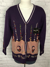 VTG NWT Great Cavalier By St. Paul Wool Sweater BF Cardigan Floral Embro... - $44.55